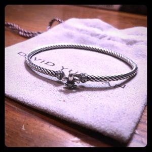 David Yurman 3mm Cable Fleur De Lis Bracelet